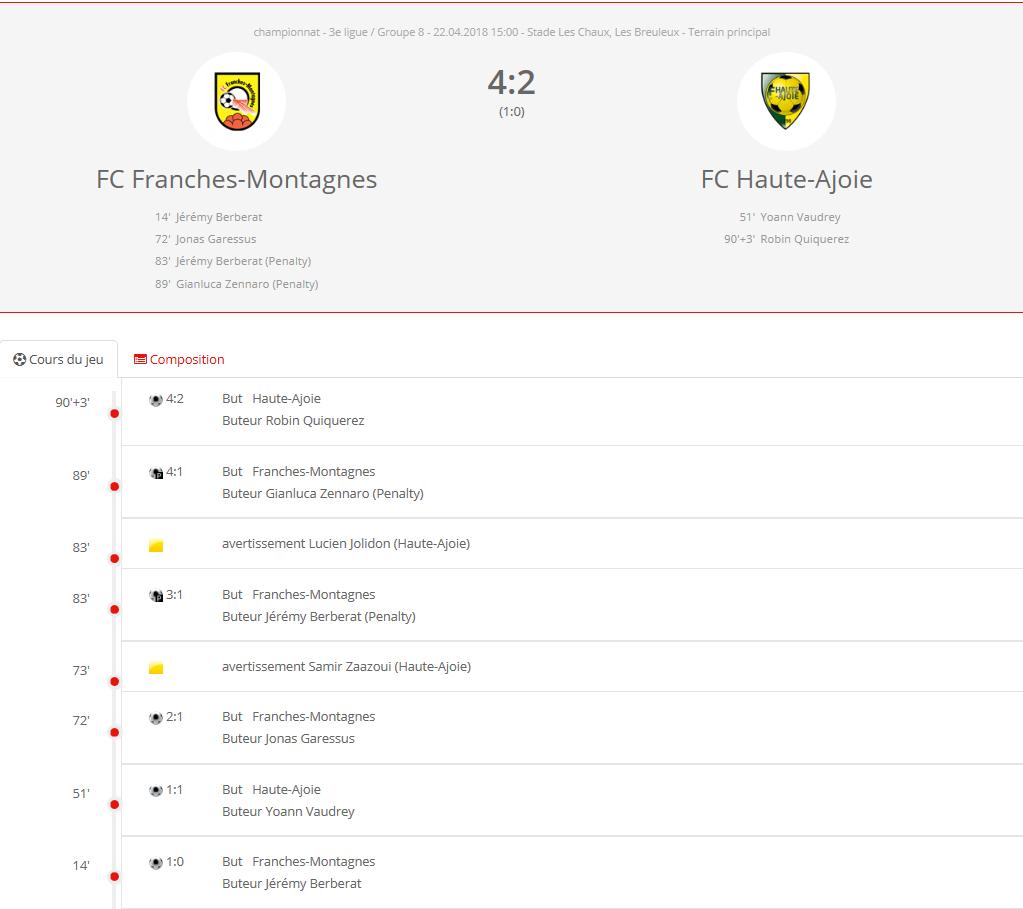 FC HA 1 - FC Franches-Montagnes 1