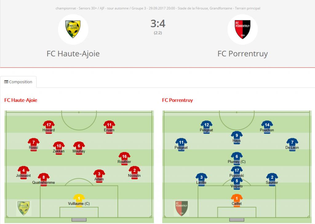 FC HA vétérans - FC Porrentruy