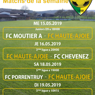 Match de la semaine 19.05.2019