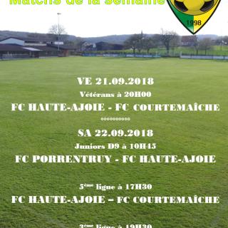 Match de la semaine 22.09.2018