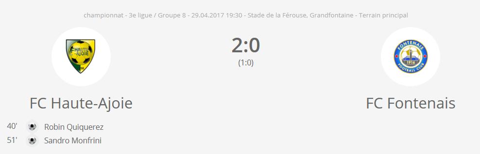 FC H-A 1 vs FC Fontenais