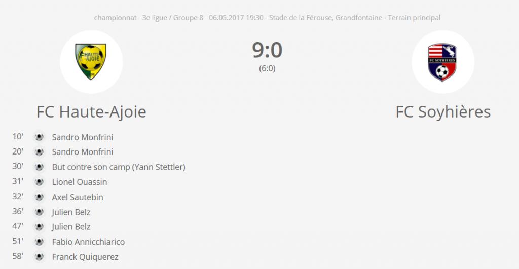 FCHA 1 vs FC Sohyères