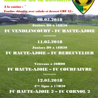 Match de la semaine 08.05.2018