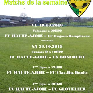 Match de la semaine 20.10.2018
