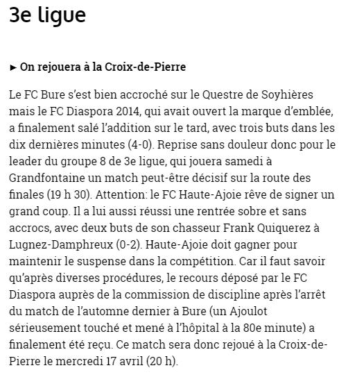 Article FC Lugnez - FC HA 1